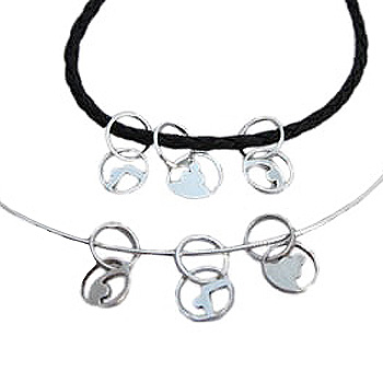 """Yoga Loops Poses Charms with 20"""" Black Leather Necklace or 16"""" Sterling Silver Omega Snake Chain by Shanti Boutique"""