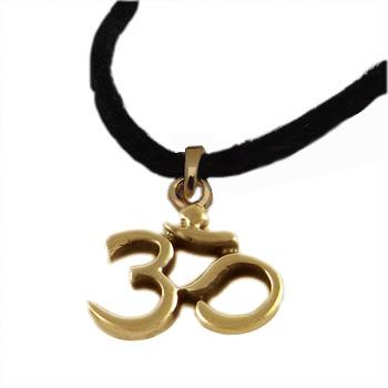 """18k Gold Vermeil Om (Aum) Pendant on 36"""" Black Ultrasuede Necklace by Shanti Boutique"""