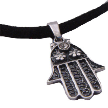 Hamsa – Hand of Fatima Sterling Silver Necklace by Shanti Boutique