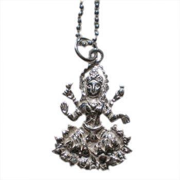 Hindu Goddess Lakshmi Pendant on Sterling Silver Chain by Shanti Boutique