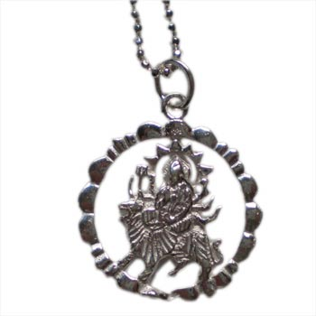 "Durga, Hindu Deity, Mother Earth Goddess 16"" Sterling Silver Necklace by Shanti Boutique"
