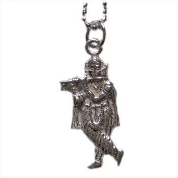 "Krishna, Hindu Deity, Sterling Silver 16"" Necklace by Shanti Boutique"