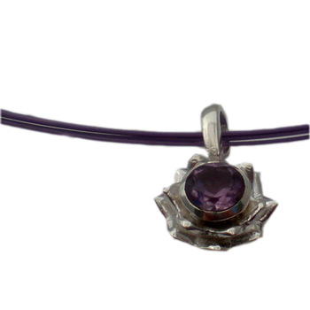 Sterling Silver Lotus Flower Necklace with Amethyst Gemstone by Shanti Boutique