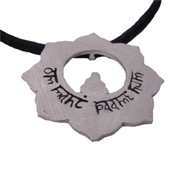 Buddhist Om Mani Padme Hum Lotus Flower Sterling Silver Pendant on 16'' Black Cotton Necklace