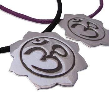 Sterling Silver Om (Aum) Lotus Pendant on 16'' Soft Cotton Necklace (Black or Purple)