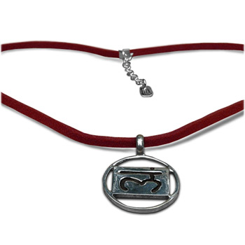 Chakra Pendant in Sterling Silver with 17″ Ultra Suede Leather Necklace by Shanti Boutique