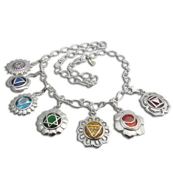 Good Vibes Chakras Charm Necklace with Cubic Zirconia by Shanti Boutique