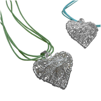 Handmade Designer Large Heart Shaped Wire Pendant with Soft Cotton Necklace by Shanti Boutique