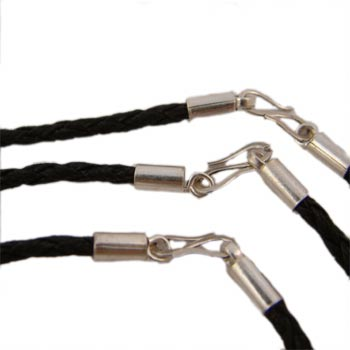 Black Leather Rope Necklace with Sterling Silver Clasp by Shanti Boutique