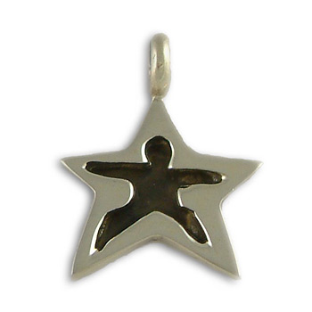 Yoga Pose Sterling Silver Star Pendant – Warrior Two by Shanti Boutique