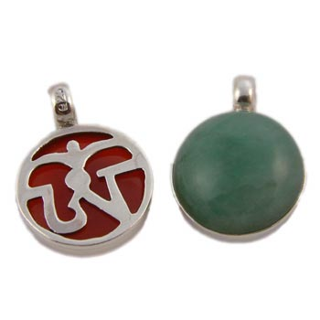 Tibetan Om (Aum) Gemstone Sterling Silver Pendant by Shanti Boutique