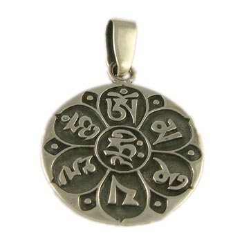 Sterling Silver Buddhist Pendant of Compassion – Om Mani Padme Hum by Shanti Boutique