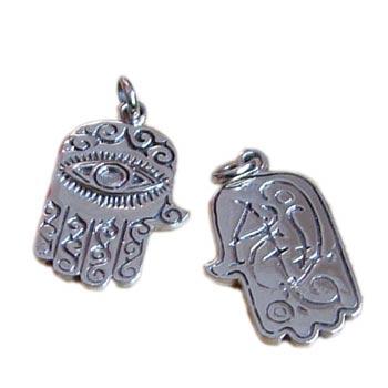 Hamsa - Hand of Fatima Sterling Silver Medallion Pendant