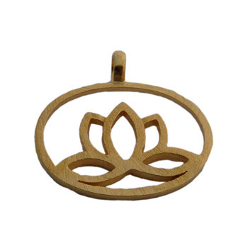 18k Gold or Sterling Silver Matte Lotus Flower Link Pendant by Shanti Boutique