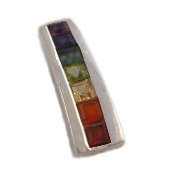 Sterling Silver Chakra Pendant with Semi Precious Stones  – Amethyst, Garnet, Peridot, Citrine, by Shanti Boutique