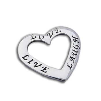 Live Love Laugh Heart Pendant Silver