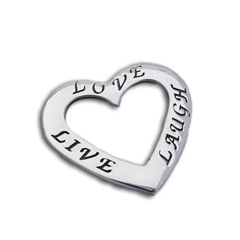 Live Love Laugh Heart Pendant Silver by Shanti Boutique