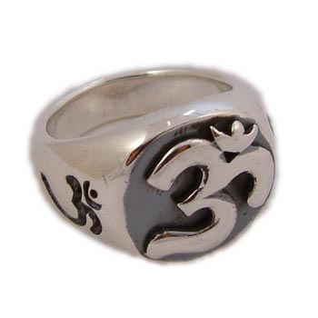 Om (Aum) Sterling Silver Signet Ring (Size 6-10) by Shanti Boutique