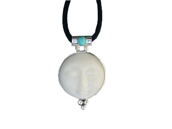 Pendant with Tagua Sun and Turquoise by TidePool