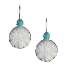Tagua Lotus and Turquoise Earrings by TidePool