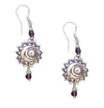 Sun and Moon Earrings with Amethyst by TidePool