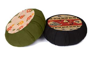 Round Printed Cotton Zafu Meditation Cushion by Yoga Direct
