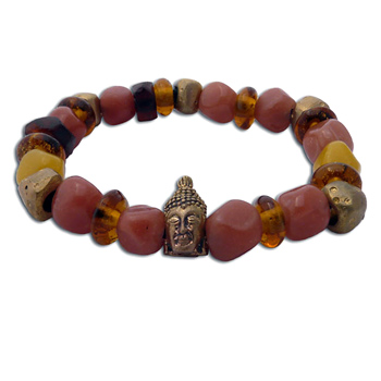 Buddha Mala Bracelet WARM EARTH Recycled Glass and Brass