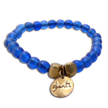 Shanti Mala Bracelet BLUE Recycled Glass and Brass