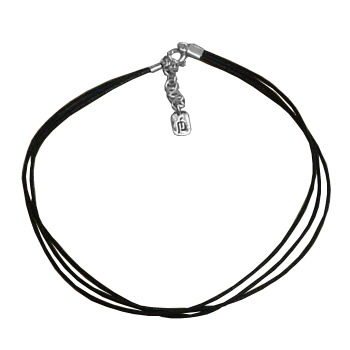 3-String Black Anklet with Adjustable Silver Clasp