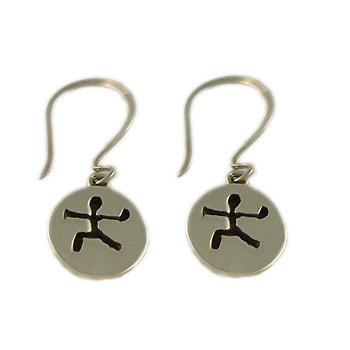 Yoga Pose Sterling Silver Earrings - Warrior Two