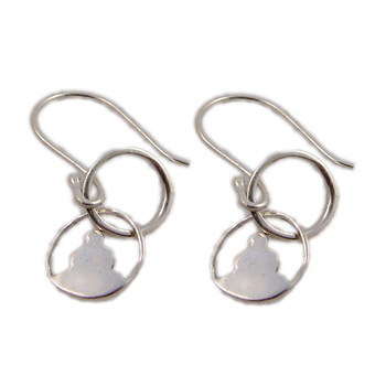 Yoga Pose Sterling Silver Loop Earrings - Lotus Pose