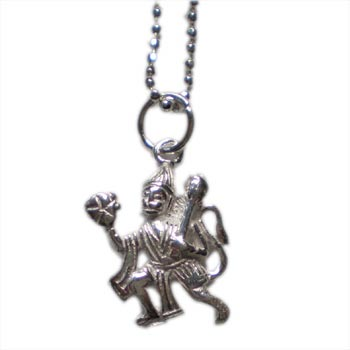 Hanuman, Hindu Deity, Sterling Silver 16'' Necklace