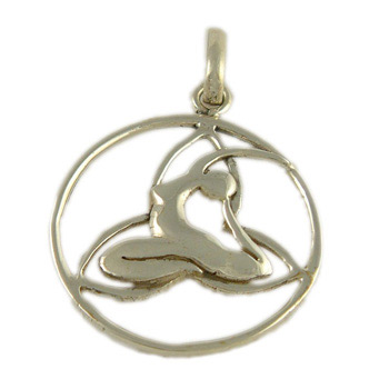 Yoga Pose Sterling Silver Pendant - Dove Pose