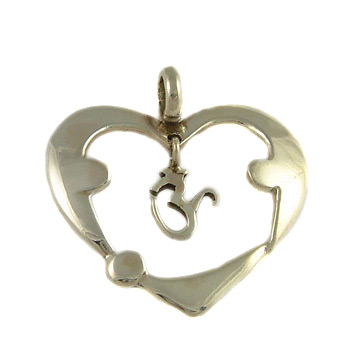 Three Yogi Om (Aum) Heart Pendant in Sterling Silver
