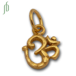 Om Charm Tiny Gold w/ 5 mm jump ring