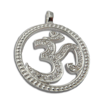 Om Bling Pendant Large Clear