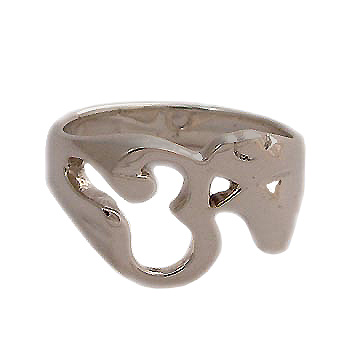 Sterling Silver Om (Aum) Cutout Ring - Sizes 6-10