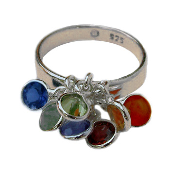Well-Being Sterling Silver Chakra Ring (Sizes 6-10) with Gemstones - Amethyst, Garnet, Peridot, Citrine, Carnelian, Iolite, Apatite