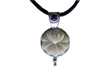 Tagua Lotus and Amethyst Pendant