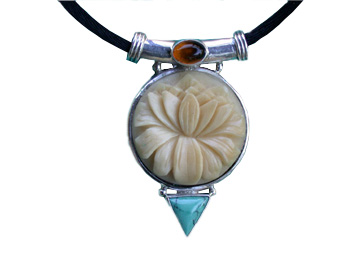 Tagua, Amber and Turquoise Pendant
