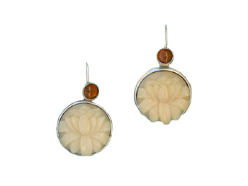 Tagua and Amber Earrings