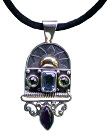 Amethyst, Swiss Blue Topaz and Peridot Pendant with Touch Of Gold