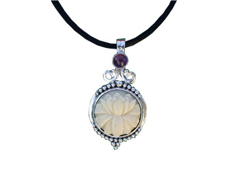 Tagua Nut Lotus Medium and Amethyst Pendant