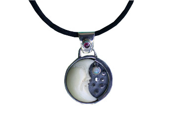 Pendant with Tagua Moon, Garnet and Opal
