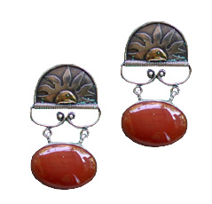 Carnelian Gold and Silver Sun Earrings