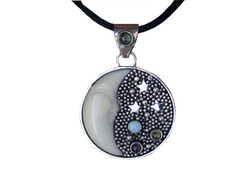 Tagua Nut Moon Pendant with Peridot At The Top, Opal, Peridot and Amethyst
