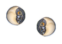Tagua Nut Half Moon Button Earrings with Amethyst