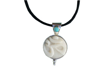 Tagua OM and Turquoise Pendant (Large)
