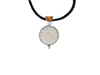 Tagua Sunflower and Amber Pendant (Medium)