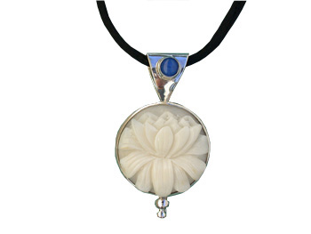 Tagua Lotus and Lapis Pendant (Large)